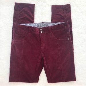 Athleta Solstice Maroon Velvet Skinny Ankle Pants